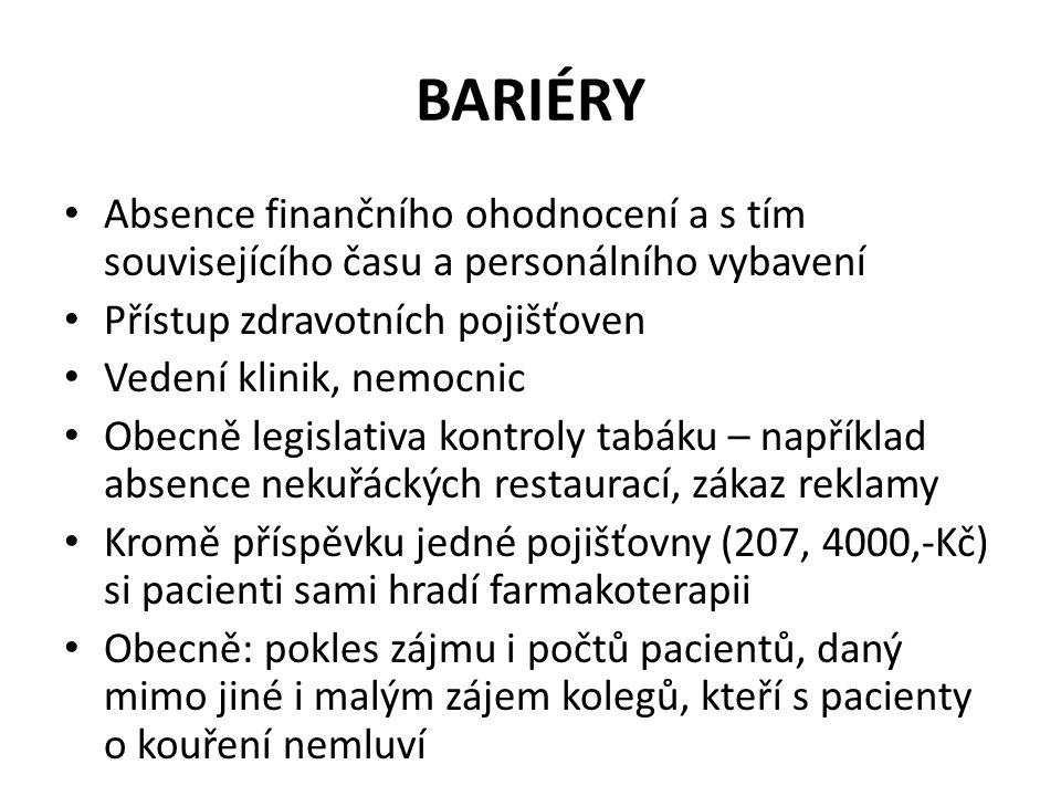 BARIÉRY • Absence finančního ohodnocení a s tím souvisejícího času a personálního vybavení • Přístup zdravotních pojišťoven • Vedení klinik, nemocnic