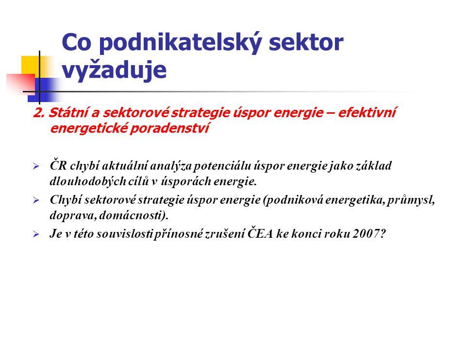 Co podnikatelský sektor vyžaduje 2. Státní a sektorové strategie úspor energie – efektivní energetické poradenství  ČR chybí aktuální analýza potenci