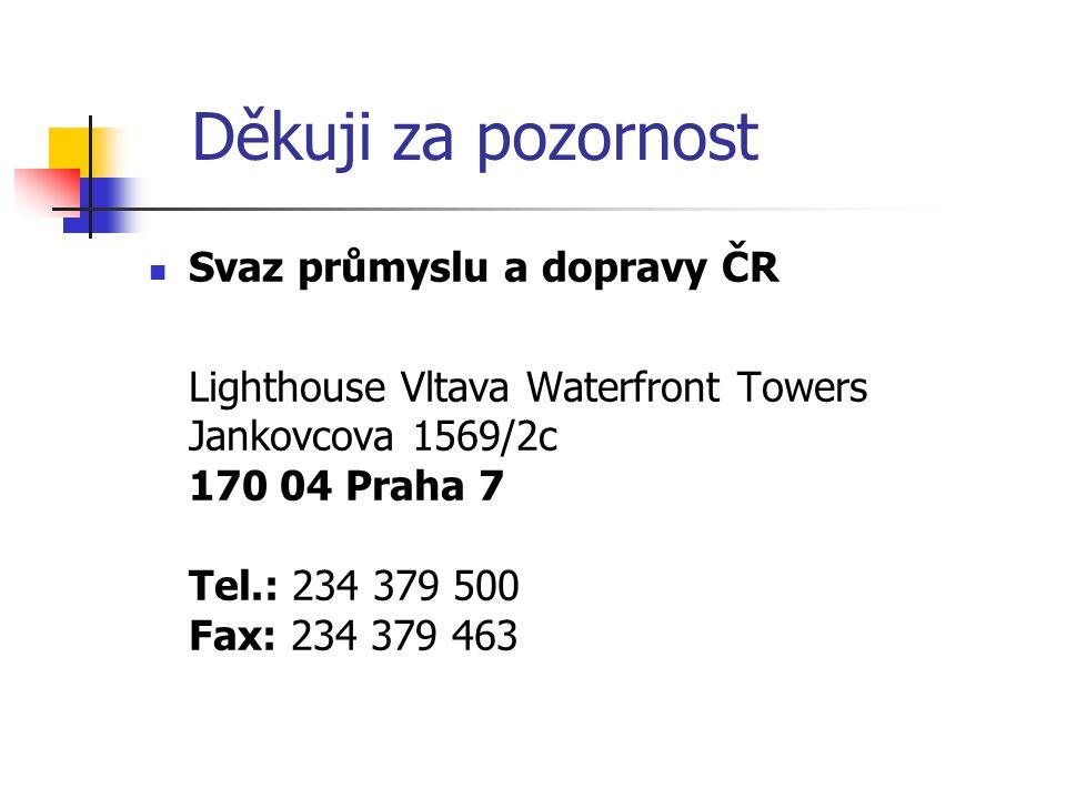 Děkuji za pozornost  Svaz průmyslu a dopravy ČR Lighthouse Vltava Waterfront Towers Jankovcova 1569/2c 170 04 Praha 7 Tel.: 234 379 500 Fax: 234 379