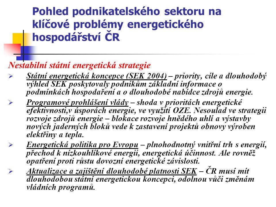 Pohled podnikatelského sektoru na klíčové problémy energetického hospodářství ČR Nestabilní státní energetická strategie  Státní energetická koncepce