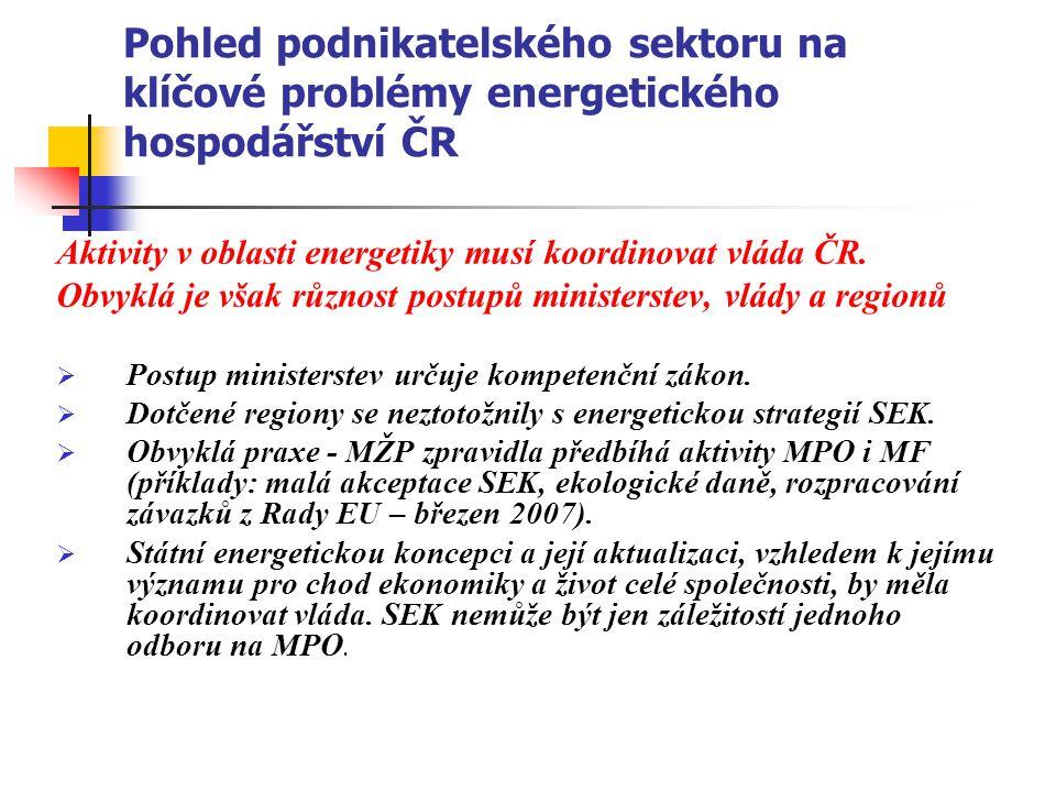 Pohled podnikatelského sektoru na klíčové problémy energetického hospodářství ČR Aktivity v oblasti energetiky musí koordinovat vláda ČR. Obvyklá je v