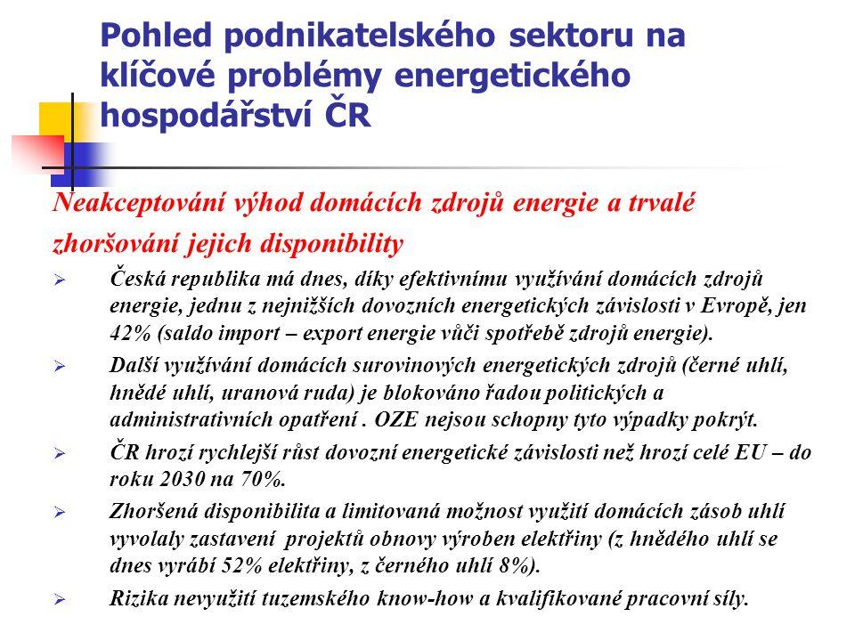 Pohled podnikatelského sektoru na klíčové problémy energetického hospodářství ČR Neakceptování výhod domácích zdrojů energie a trvalé zhoršování jejic