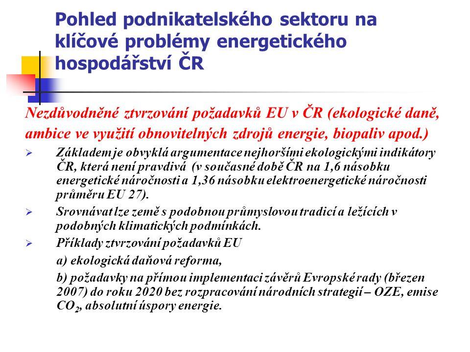Pohled podnikatelského sektoru na klíčové problémy energetického hospodářství ČR Nezdůvodněné ztvrzování požadavků EU v ČR (ekologické daně, ambice ve
