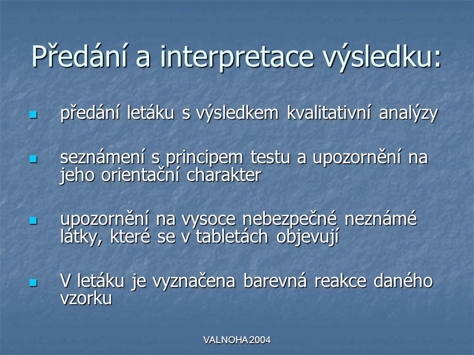VALNOHA 2004 Předání a interpretace výsledku:  předání letáku s výsledkem kvalitativní analýzy  seznámení s principem testu a upozornění na jeho ori