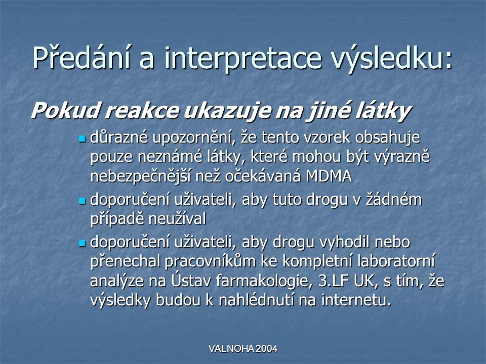 VALNOHA 2004 Předání a interpretace výsledku: Pokud reakce ukazuje na jiné látky  důrazné upozornění, že tento vzorek obsahuje pouze neznámé látky, které mohou být výrazně nebezpečnější než očekávaná MDMA  doporučení uživateli, aby tuto drogu v žádném případě neužíval  doporučení uživateli, aby drogu vyhodil nebo přenechal pracovníkům ke kompletní laboratorní analýze na Ústav farmakologie, 3.LF UK, s tím, že výsledky budou k nahlédnutí na internetu.