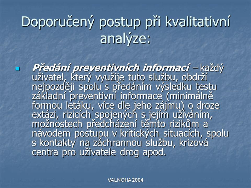 VALNOHA 2004 Doporučený postup při kvalitativní analýze:  Předání preventivních informací – každý uživatel, který využije tuto službu, obdrží nejpozd