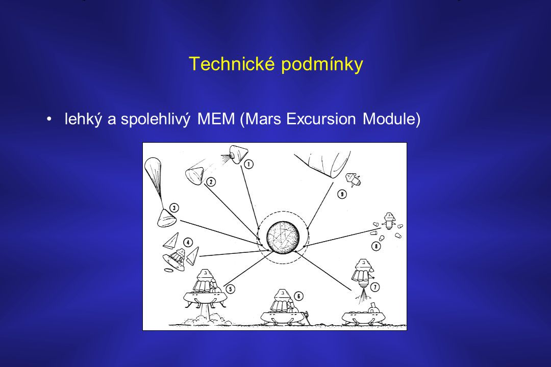 Technické podmínky •lehký a spolehlivý MEM (Mars Excursion Module)