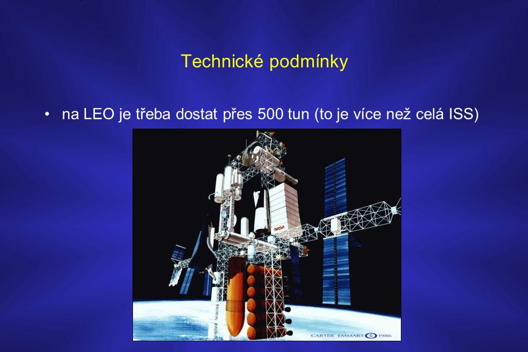 Technické podmínky •na LEO je třeba dostat přes 500 tun (to je více než celá ISS)