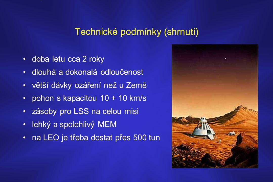 Technické podmínky (shrnutí) •doba letu cca 2 roky •dlouhá a dokonalá odloučenost •větší dávky ozáření než u Země •pohon s kapacitou 10 + 10 km/s •zás