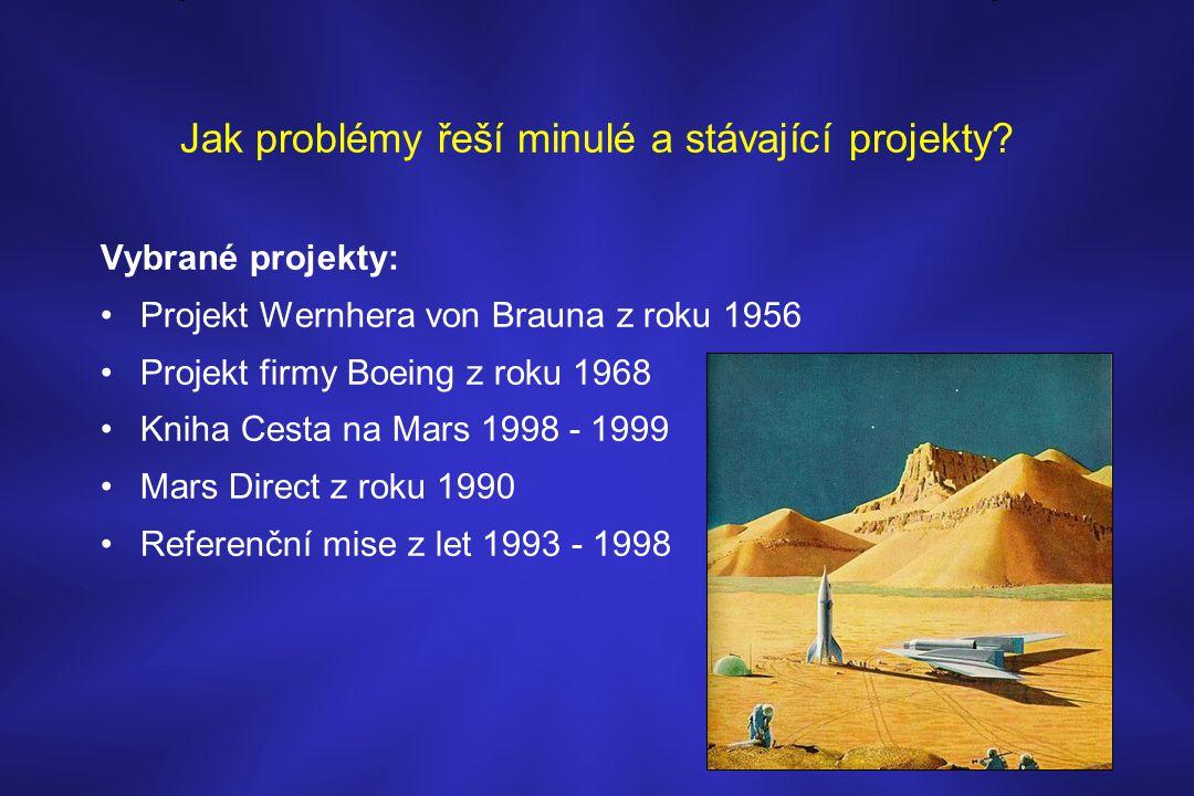 Jak problémy řeší minulé a stávající projekty? Vybrané projekty: •Projekt Wernhera von Brauna z roku 1956 •Projekt firmy Boeing z roku 1968 •Kniha Ces