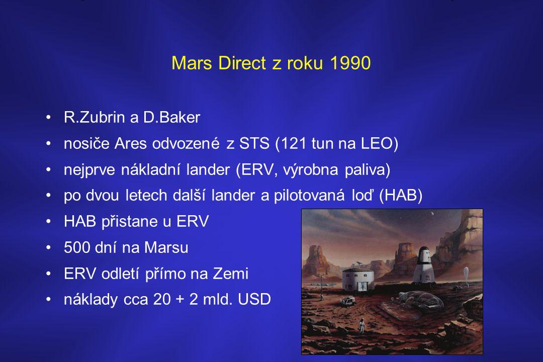 Mars Direct z roku 1990 •R.Zubrin a D.Baker •nosiče Ares odvozené z STS (121 tun na LEO) •nejprve nákladní lander (ERV, výrobna paliva) •po dvou letec