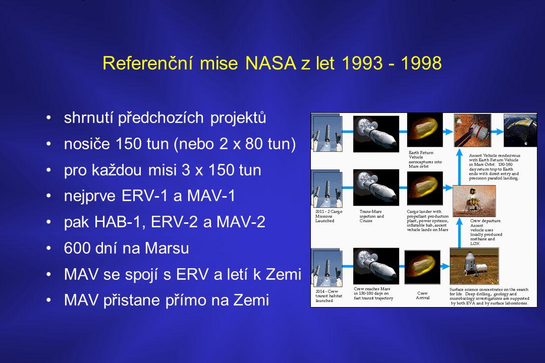 Referenční mise NASA z let 1993 - 1998 •shrnutí předchozích projektů •nosiče 150 tun (nebo 2 x 80 tun) •pro každou misi 3 x 150 tun •nejprve ERV-1 a M