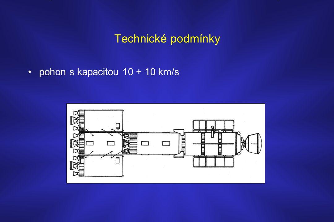 Technické podmínky •pohon s kapacitou 10 + 10 km/s