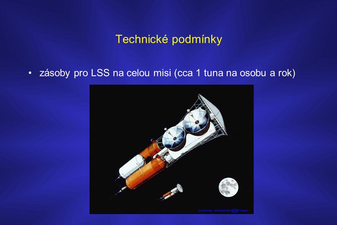 Technické podmínky •zásoby pro LSS na celou misi (cca 1 tuna na osobu a rok)