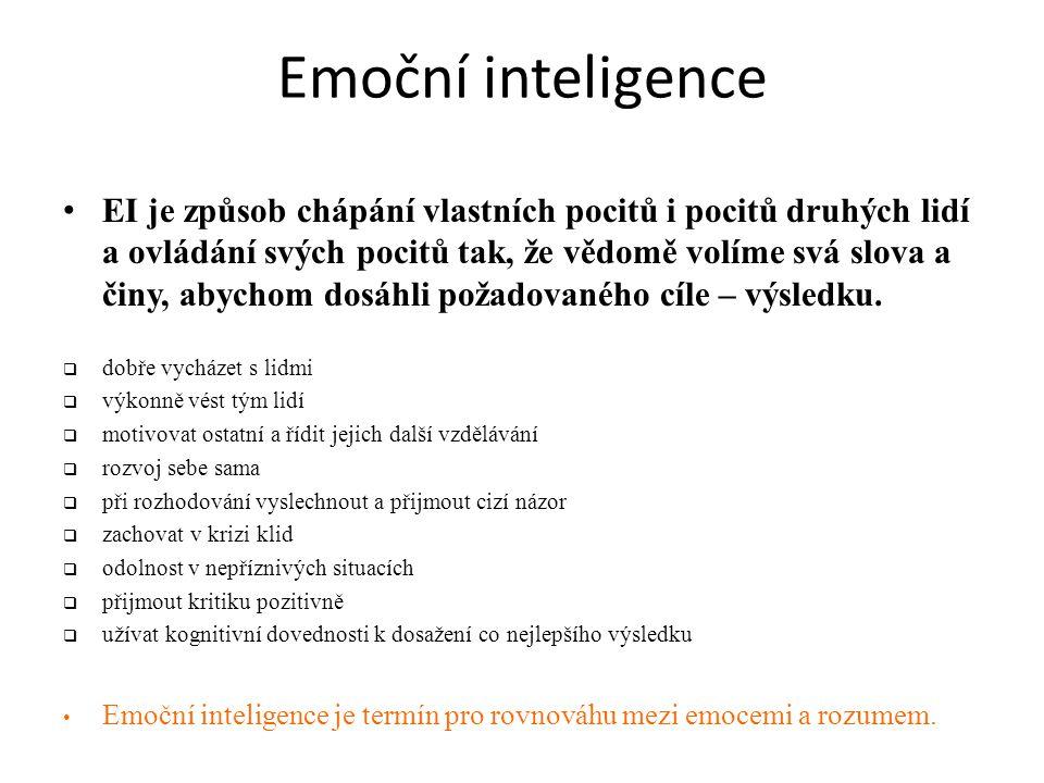 Emoční inteligence • EI je způsob chápání vlastních pocitů i pocitů druhých lidí a ovládání svých pocitů tak, že vědomě volíme svá slova a činy, abychom dosáhli požadovaného cíle – výsledku.