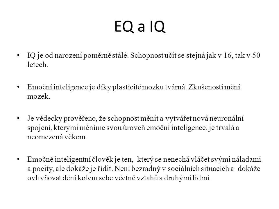 EQ a IQ • IQ je od narození poměrně stálé. Schopnost učit se stejná jak v 16, tak v 50 letech.