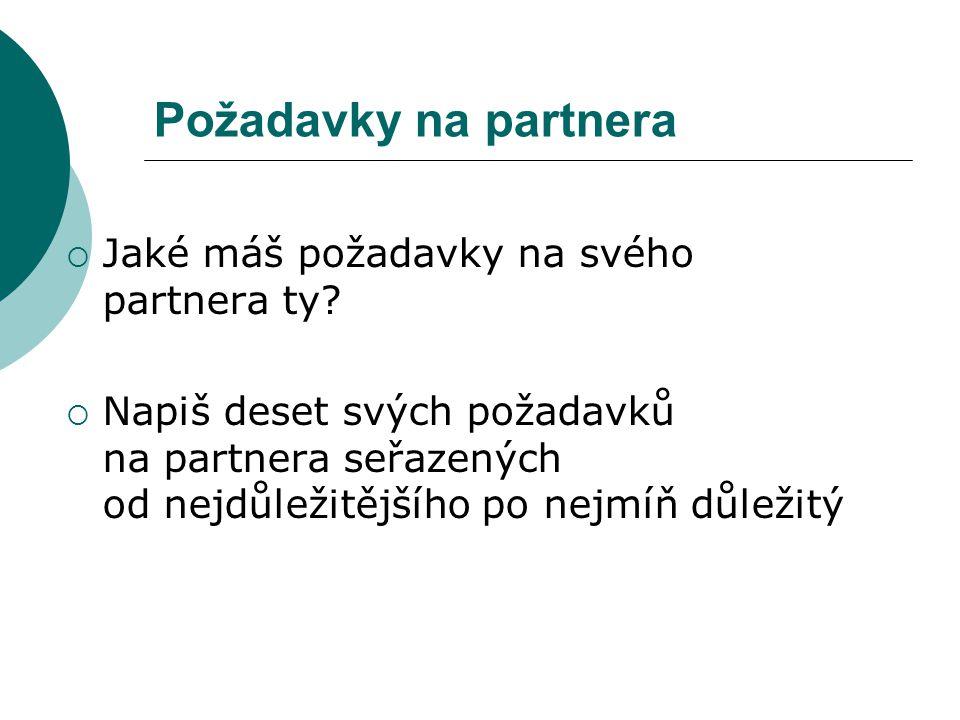 Požadavky na partnera POŽADAVKY NA ŽENU 1.charakter a osobnost 51% 2.