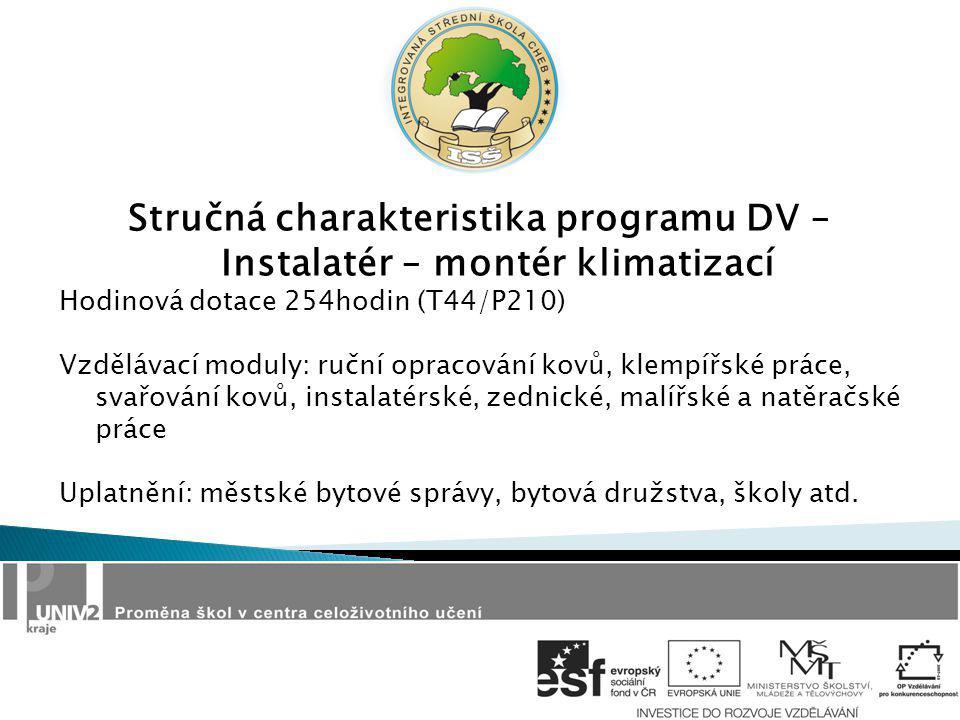 Stručná charakteristika programu DV – Instalatér – montér klimatizací Hodinová dotace 254hodin (T44/P210) Vzdělávací moduly: ruční opracování kovů, kl