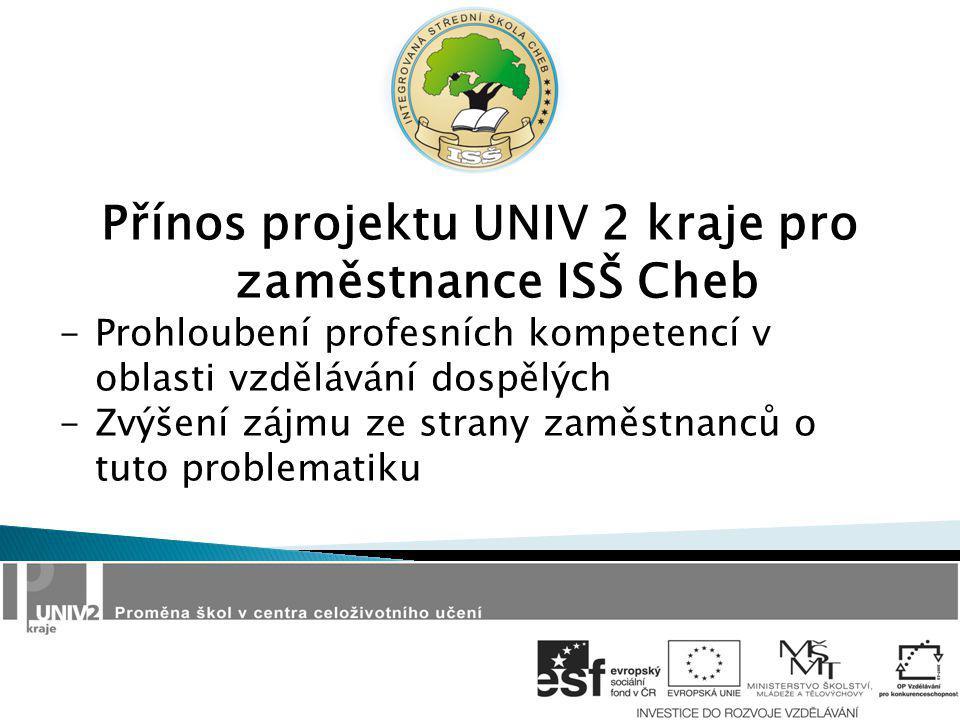 Přínos projektu UNIV 2 kraje pro zaměstnance ISŠ Cheb -Prohloubení profesních kompetencí v oblasti vzdělávání dospělých -Zvýšení zájmu ze strany zaměstnanců o tuto problematiku