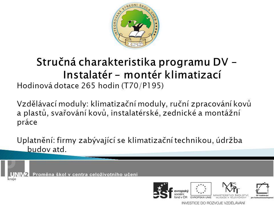 Stručná charakteristika programu DV – Instalatér – montér klimatizací Hodinová dotace 265 hodin (T70/P195) Vzdělávací moduly: klimatizační moduly, ruč