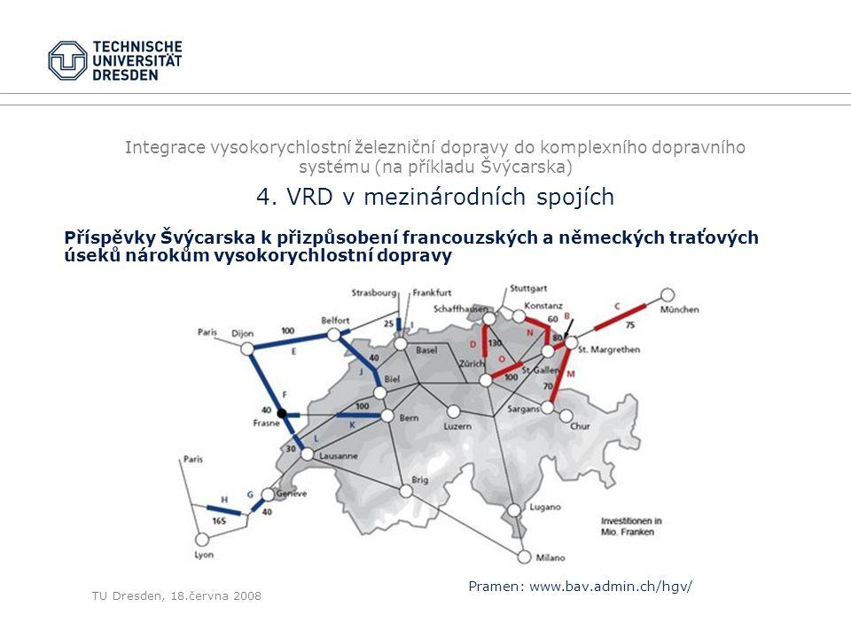 TU Dresden, 18.června 2008 Integrace vysokorychlostní železniční dopravy do komplexního dopravního systému (na příkladu Švýcarska) 4. VRD v mezinárodn