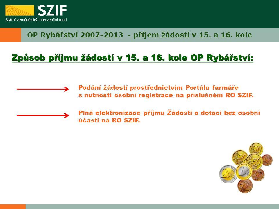 OP Rybářství 2007-2013 - příjem žádostí v 15. a 16. kole Způsob příjmu žádostí v 15. a 16. kole OP Rybářství: Podání žádostí prostřednictvím Portálu f