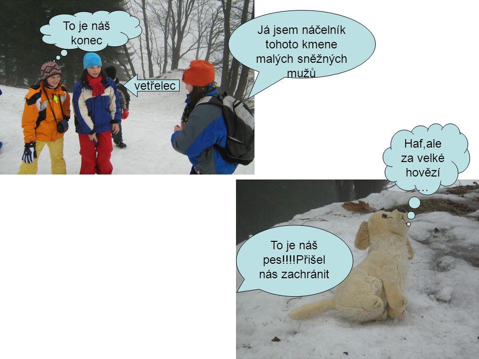 Já jsem náčelník tohoto kmene malých sněžných mužů To je náš konec vetřelec To je náš pes!!!!Přišel nás zachránit Haf,ale za velké hovězí …