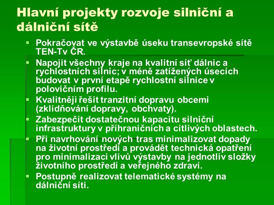 Hlavní projekty rozvoje silniční a dálniční sítě   Pokračovat ve výstavbě úseku transevropské sítě TEN-Tv ČR.