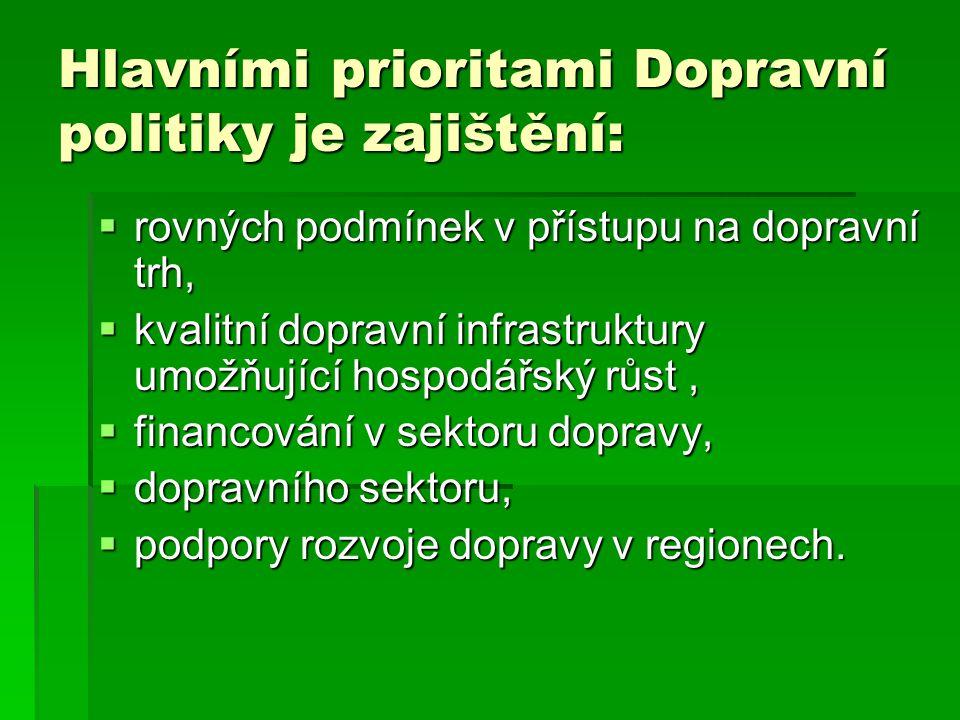 Hlavními prioritami Dopravní politiky je zajištění:  rovných podmínek v přístupu na dopravní trh,  kvalitní dopravní infrastruktury umožňující hospodářský růst,  financování v sektoru dopravy,  dopravního sektoru,  podpory rozvoje dopravy v regionech.