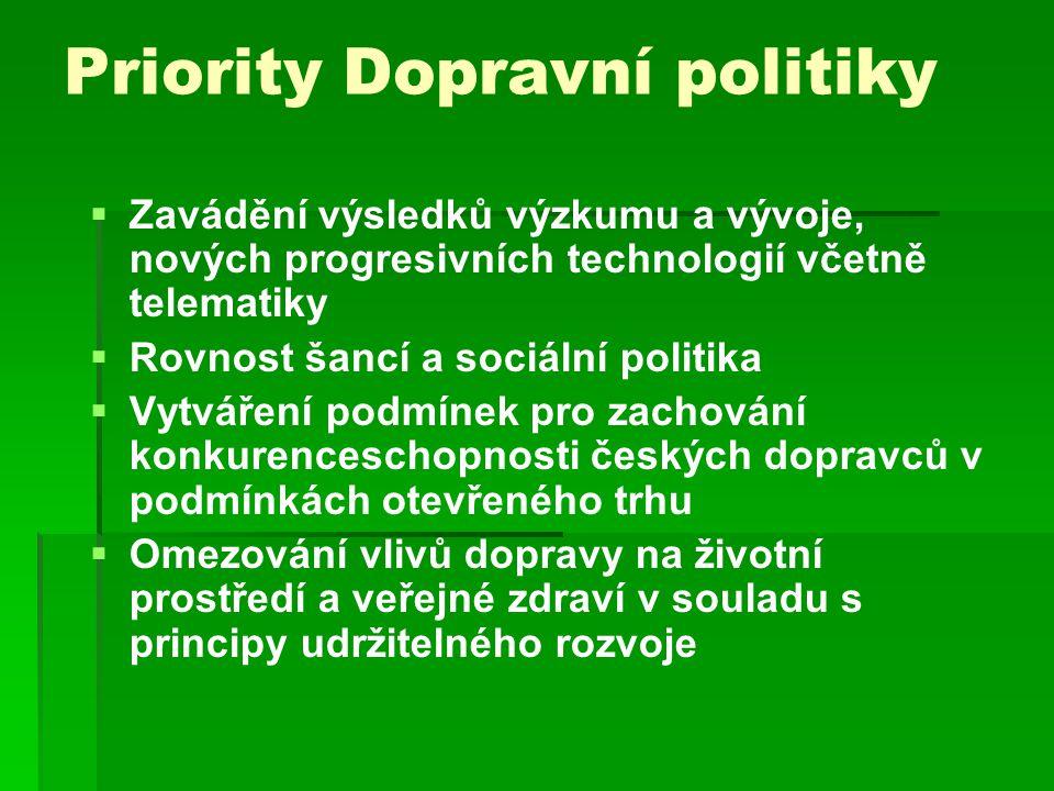 Priority Dopravní politiky   Zavádění výsledků výzkumu a vývoje, nových progresivních technologií včetně telematiky   Rovnost šancí a sociální politika   Vytváření podmínek pro zachování konkurenceschopnosti českých dopravců v podmínkách otevřeného trhu   Omezování vlivů dopravy na životní prostředí a veřejné zdraví v souladu s principy udržitelného rozvoje