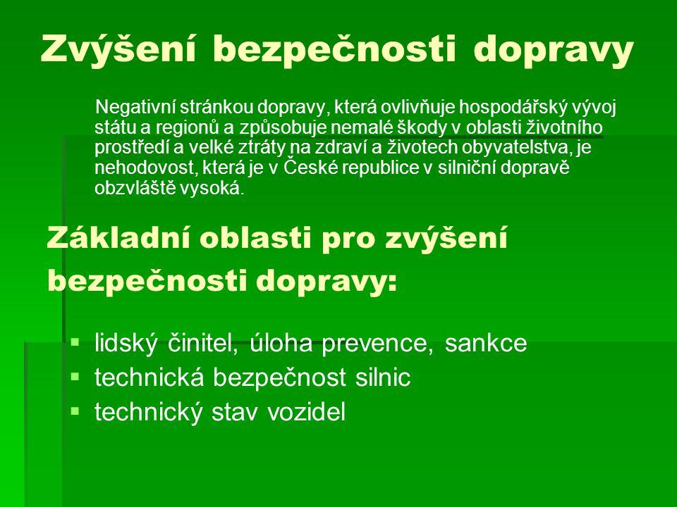 Zvýšení bezpečnosti dopravy Negativní stránkou dopravy, která ovlivňuje hospodářský vývoj státu a regionů a způsobuje nemalé škody v oblasti životního prostředí a velké ztráty na zdraví a životech obyvatelstva, je nehodovost, která je v České republice v silniční dopravě obzvláště vysoká.