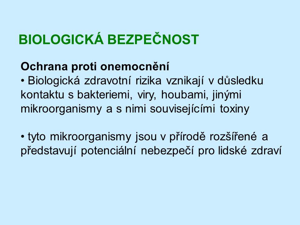 BIOLOGICKÁ BEZPEČNOST Ochrana proti onemocnění • Biologická zdravotní rizika vznikají v důsledku kontaktu s bakteriemi, viry, houbami, jinými mikroorg
