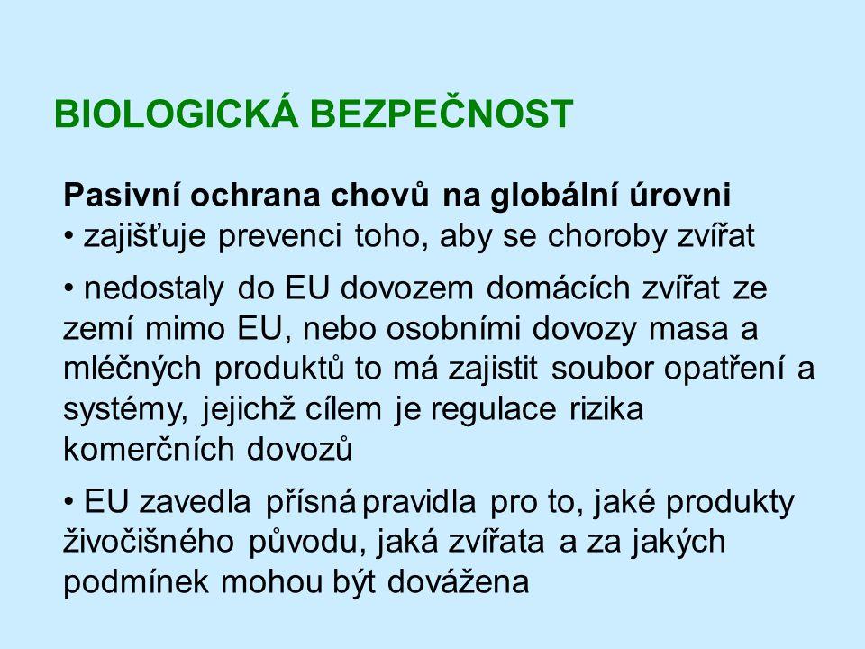 BIOLOGICKÁ BEZPEČNOST Pasivní ochrana chovů na globální úrovni • zajišťuje prevenci toho, aby se choroby zvířat • nedostaly do EU dovozem domácích zví