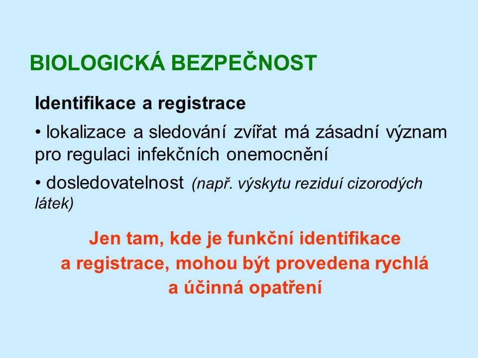 BIOLOGICKÁ BEZPEČNOST Identifikace a registrace • lokalizace a sledování zvířat má zásadní význam pro regulaci infekčních onemocnění • dosledovatelnos