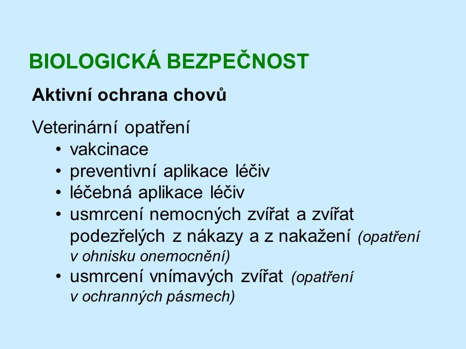 BIOLOGICKÁ BEZPEČNOST Aktivní ochrana chovů Veterinární opatření •vakcinace •preventivní aplikace léčiv •léčebná aplikace léčiv •usmrcení nemocných zv