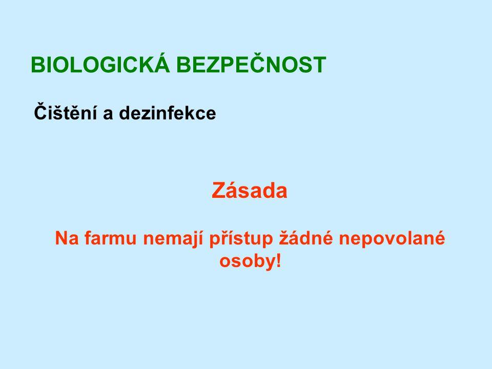 BIOLOGICKÁ BEZPEČNOST Čištění a dezinfekce Zásada Na farmu nemají přístup žádné nepovolané osoby!