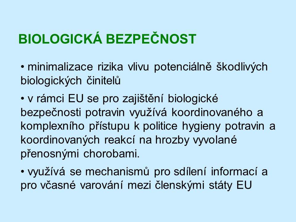 BIOLOGICKÁ BEZPEČNOST • minimalizace rizika vlivu potenciálně škodlivých biologických činitelů • v rámci EU se pro zajištění biologické bezpečnosti po