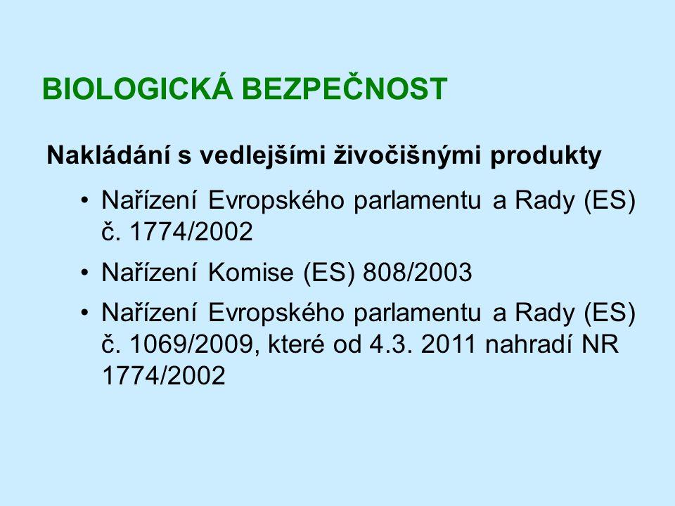 BIOLOGICKÁ BEZPEČNOST Nakládání s vedlejšími živočišnými produkty •Nařízení Evropského parlamentu a Rady (ES) č. 1774/2002 •Nařízení Komise (ES) 808/2