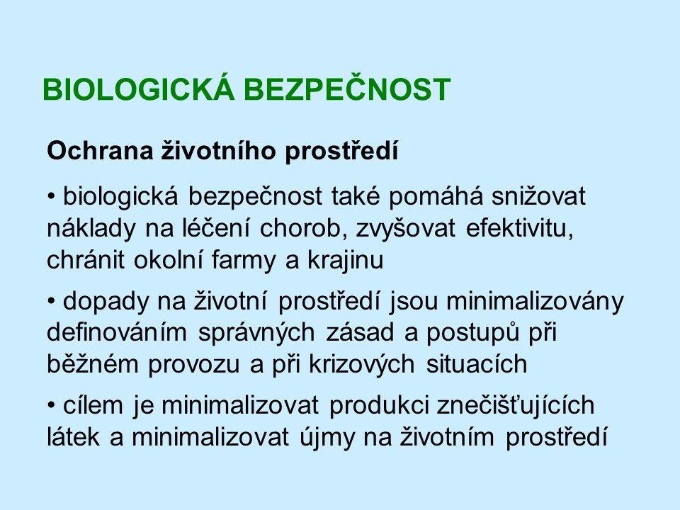 BIOLOGICKÁ BEZPEČNOST Ochrana životního prostředí • biologická bezpečnost také pomáhá snižovat náklady na léčení chorob, zvyšovat efektivitu, chránit