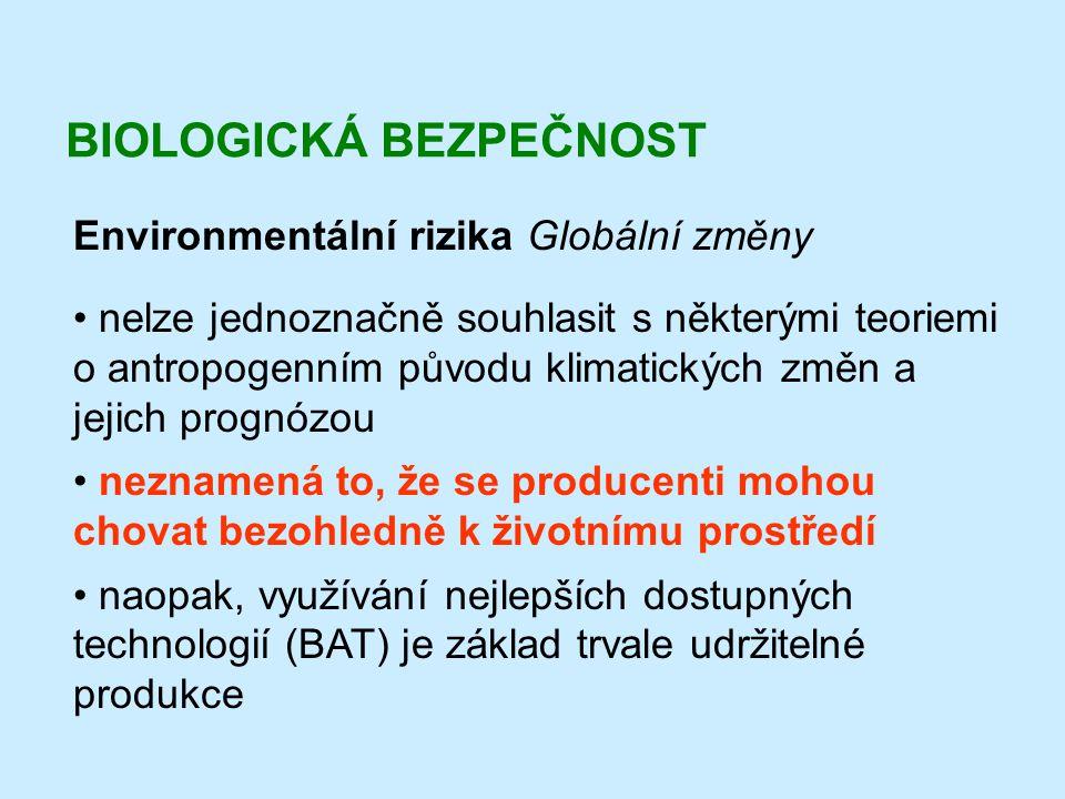BIOLOGICKÁ BEZPEČNOST Environmentální rizika Globální změny • nelze jednoznačně souhlasit s některými teoriemi o antropogenním původu klimatických změ