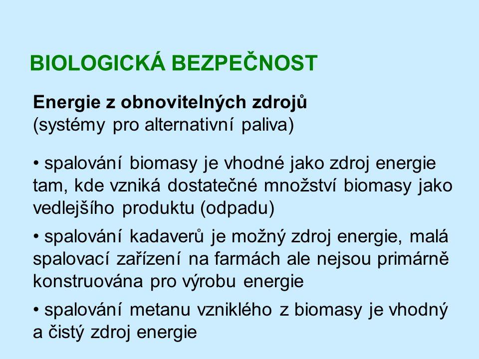 BIOLOGICKÁ BEZPEČNOST Energie z obnovitelných zdrojů (systémy pro alternativní paliva) • spalování biomasy je vhodné jako zdroj energie tam, kde vznik