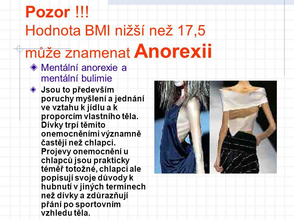 Pozor !!! Hodnota BMI nižší než 17,5 může znamenat Anorexii Mentální anorexie a mentální bulimie Jsou to především poruchy myšlení a jednání ve vztahu