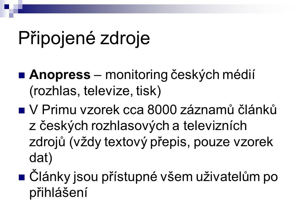 Připojené zdroje  Anopress – monitoring českých médií (rozhlas, televize, tisk)  V Primu vzorek cca 8000 záznamů článků z českých rozhlasových a televizních zdrojů (vždy textový přepis, pouze vzorek dat)  Články jsou přístupné všem uživatelům po přihlášení