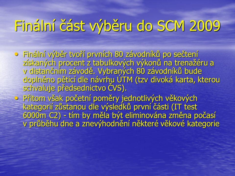 Finální část výběru do SCM 2009 • Finální výběr tvoří prvních 80 závodníků po sečtení získaných procent z tabulkových výkonů na trenažéru a v distančním závodě.