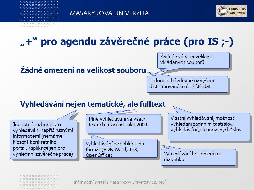 """Informační systém Masarykovy univerzity (IS MU) """"+ pro agendu závěrečné práce (pro IS ;-) Žádné omezení na velikost souboru Vyhledávání nejen tematické, ale fulltext Žádné kvóty na velikost vkládaných souborů Jednoduché a levné navýšení distribuovaného úložiště dat Vlastní vyhledávání, možnost vyhledání zadáním části slov, vyhledávání """"skloňovaných slov Plné vyhledávání ve všech textech prací od roku 2004 Plné vyhledávání ve všech textech prací od roku 2004 Vyhledávání bez ohledu na formát (PDF, Word, TeX, OpenOffice) Vyhledávání bez ohledu na diakritiku Vyhledávání bez ohledu na diakritiku Jednotné rozhraní pro vyhledávání napříč různými informacemi (nemáme filozofii konkrétního portálu/aplikace jen pro vyhledání závěrečné práce) Jednotné rozhraní pro vyhledávání napříč různými informacemi (nemáme filozofii konkrétního portálu/aplikace jen pro vyhledání závěrečné práce)"""