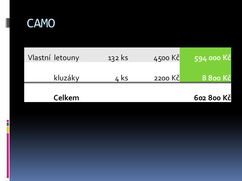 CAMO Vlastní letouny132 ks4500 Kč594 000 Kč kluzáky4 ks2200 Kč8 800 Kč Celkem602 800 Kč