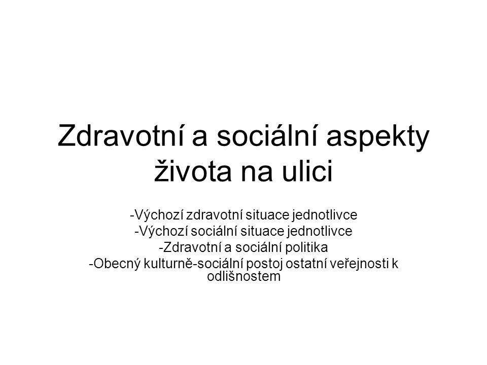 Zdravotní a sociální aspekty života na ulici -Výchozí zdravotní situace jednotlivce -Výchozí sociální situace jednotlivce -Zdravotní a sociální politi