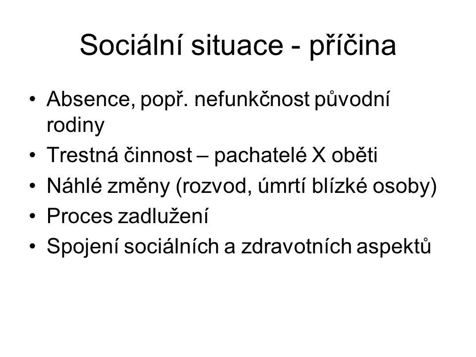 Sociální situace - příčina •Absence, popř.
