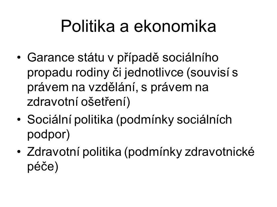 Politika a ekonomika •Garance státu v případě sociálního propadu rodiny či jednotlivce (souvisí s právem na vzdělání, s právem na zdravotní ošetření) •Sociální politika (podmínky sociálních podpor) •Zdravotní politika (podmínky zdravotnické péče)