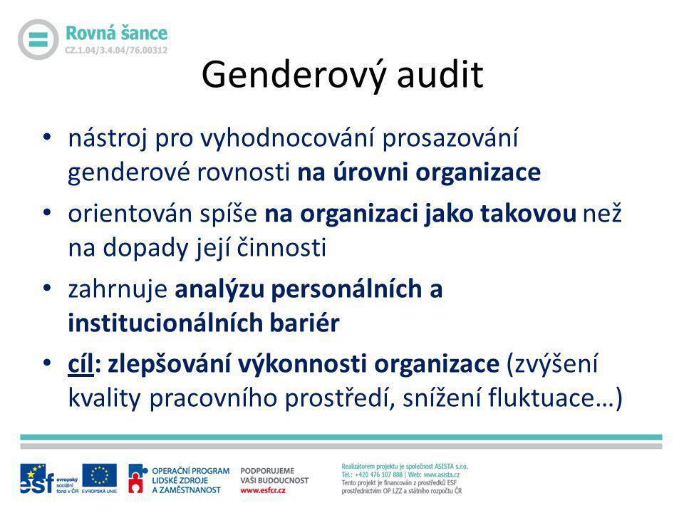 Genderový audit • nástroj pro vyhodnocování prosazování genderové rovnosti na úrovni organizace • orientován spíše na organizaci jako takovou než na d